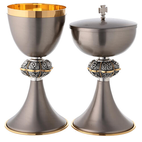 Mat gray coated chalice and ciborium made of brass 1