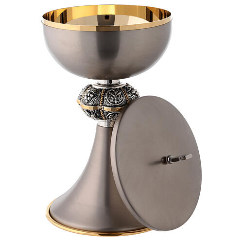 Mat gray coated chalice and ciborium made of brass 6