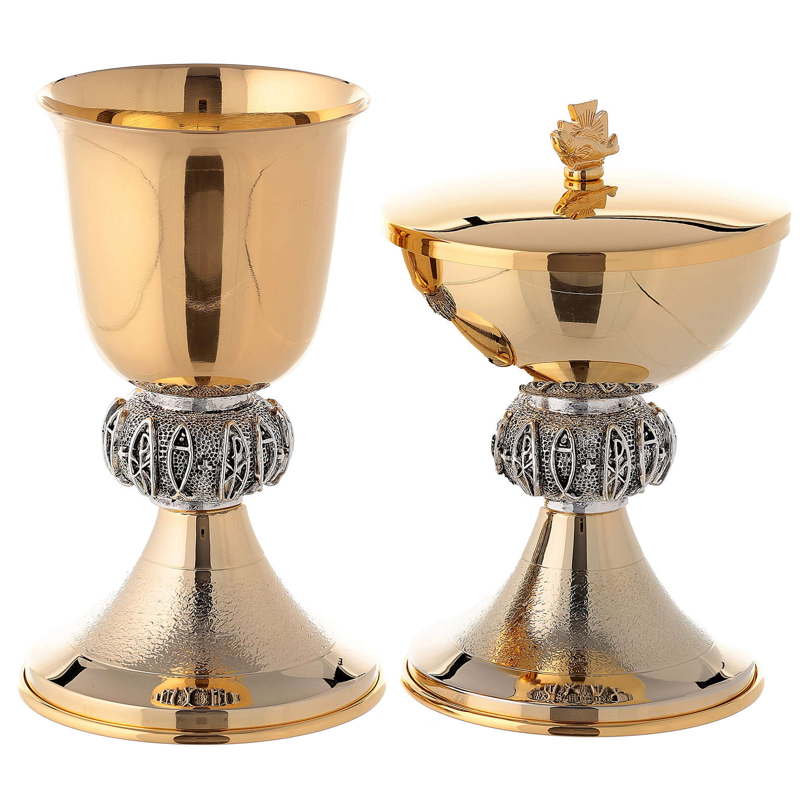 Brass chalice and ciborium with fish and Chi-Rho 4