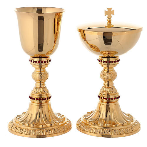 Casted chalice and ciborium with red stones 1