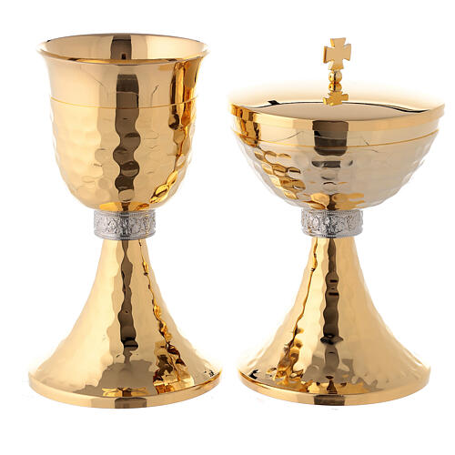 Brass chalice and ciborium with grapes and hammered base 1