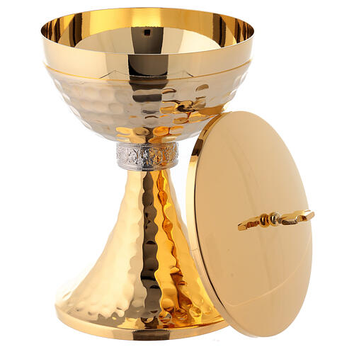 Brass chalice and ciborium with grapes and hammered base 6