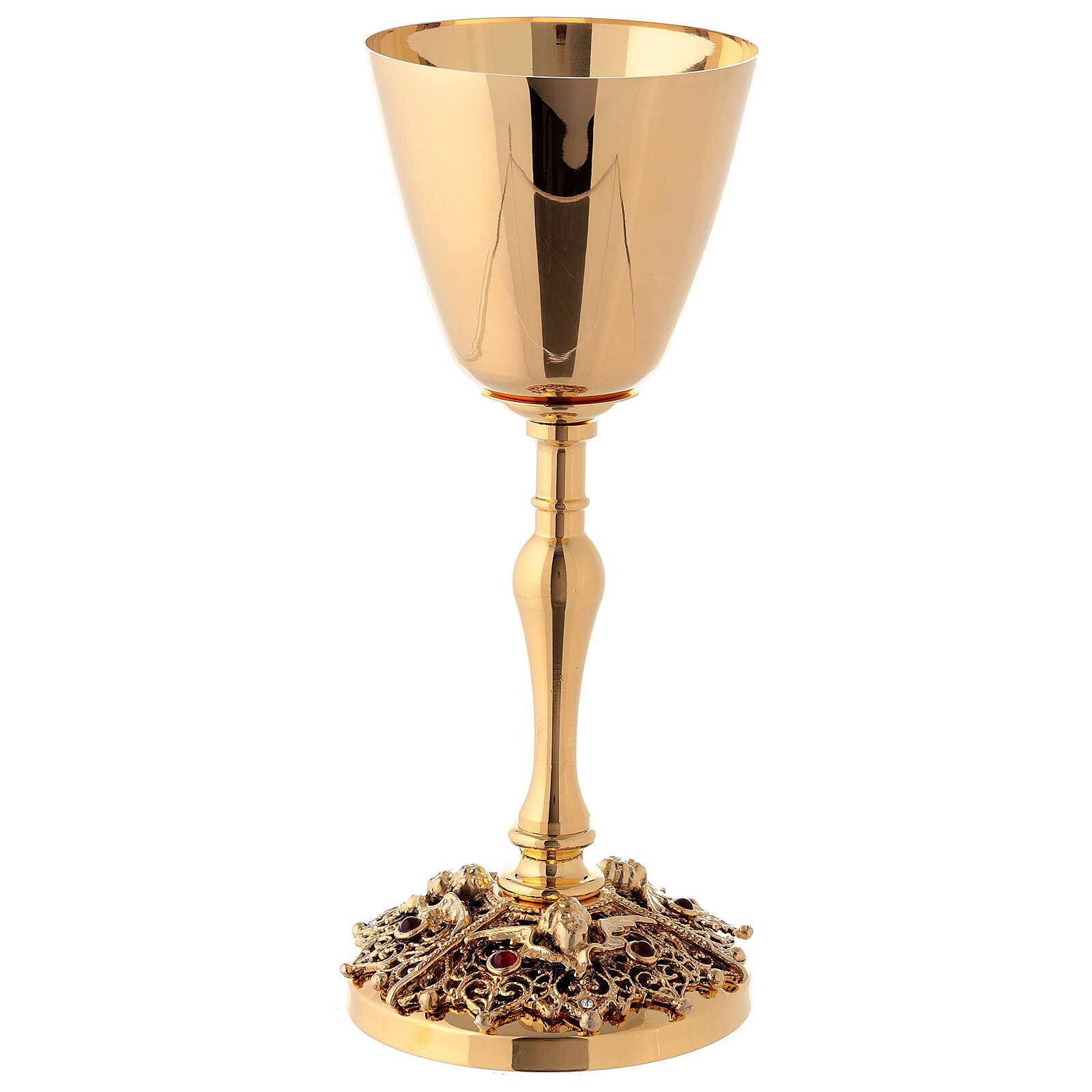 Gold plated brass chalice and ciborium with angels 4