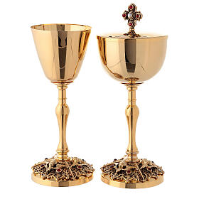Gold plated brass chalice and ciborium with angels s1