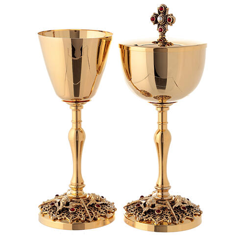 Gold plated brass chalice and ciborium with angels 1