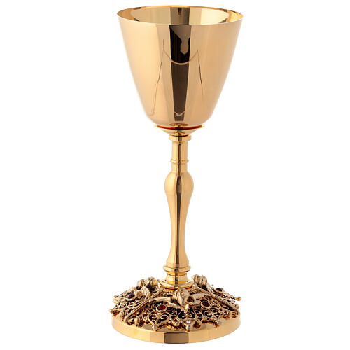 Gold plated brass chalice and ciborium with angels 2