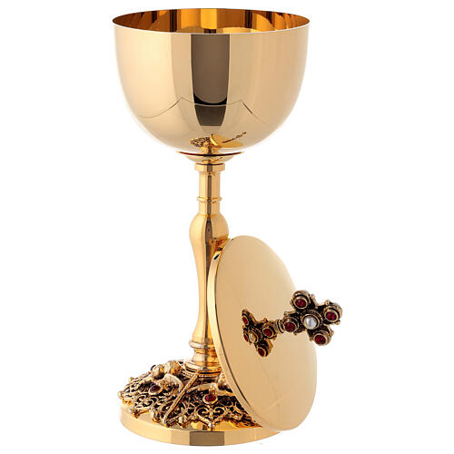 Gold plated brass chalice and ciborium with angels 8