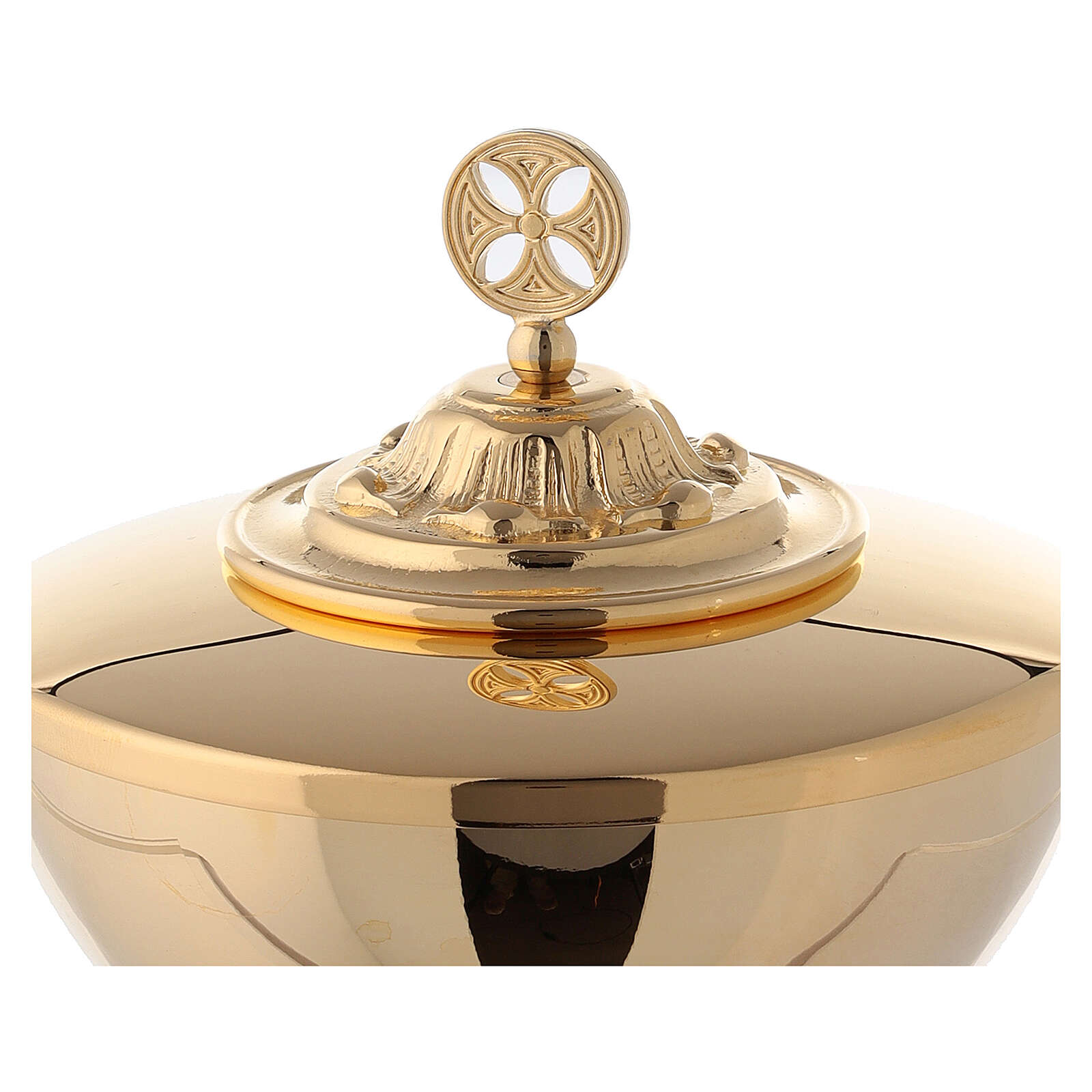 Small ciborium in gold plated brass with decorated base 4