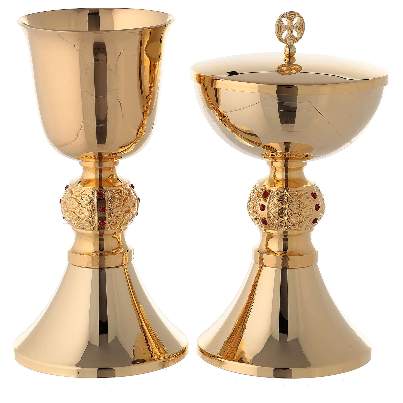 Brass chalice and ciborium with red stones on the node 4