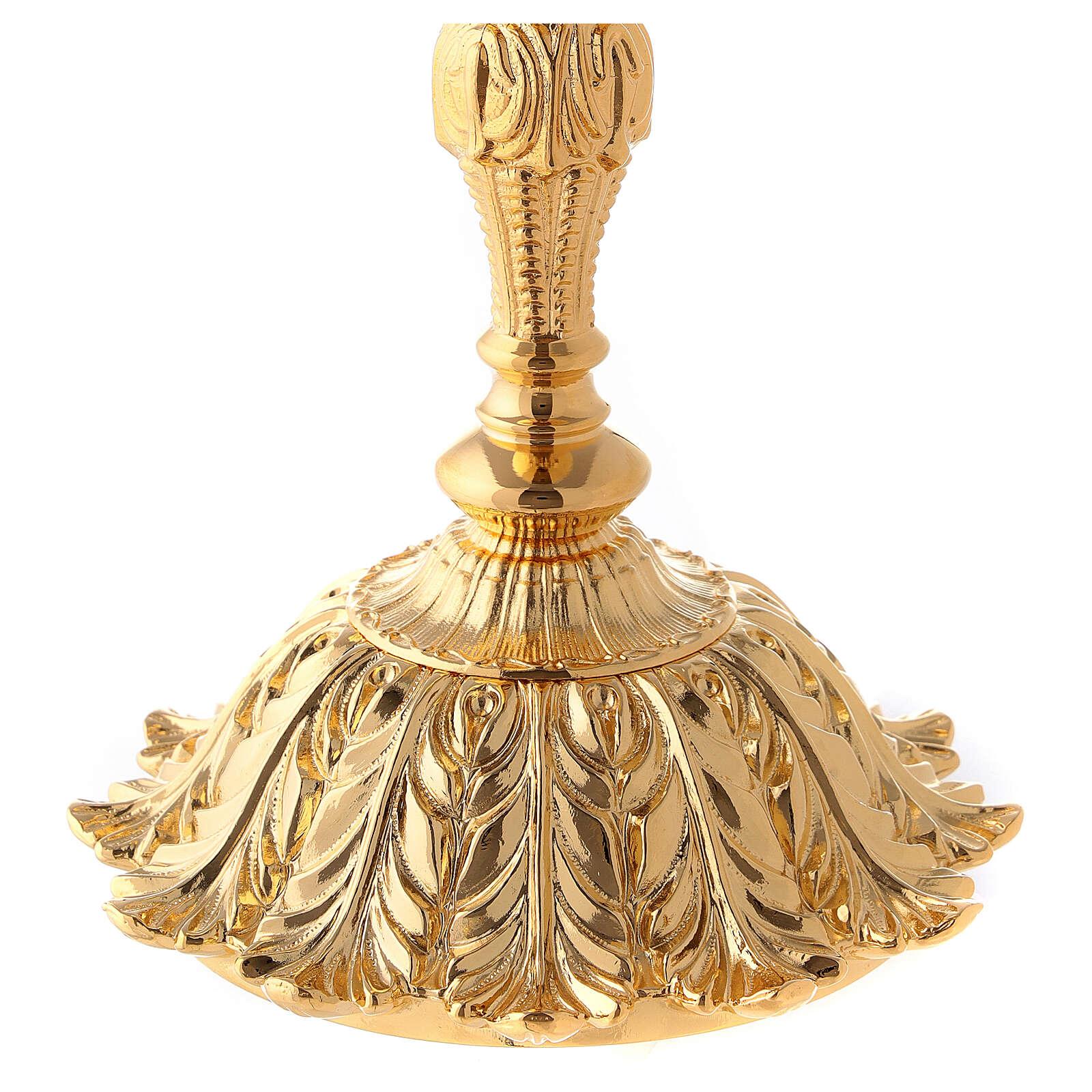 Cáliz y copón latón dorado base con flor 4