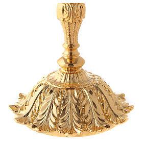 Cáliz y copón latón dorado base con flor s2