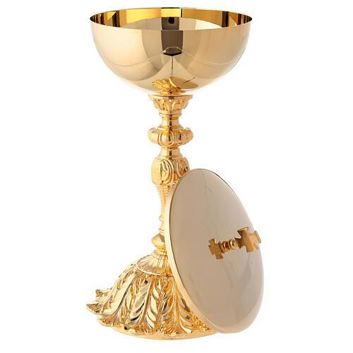 Cáliz y copón latón dorado base con flor 3