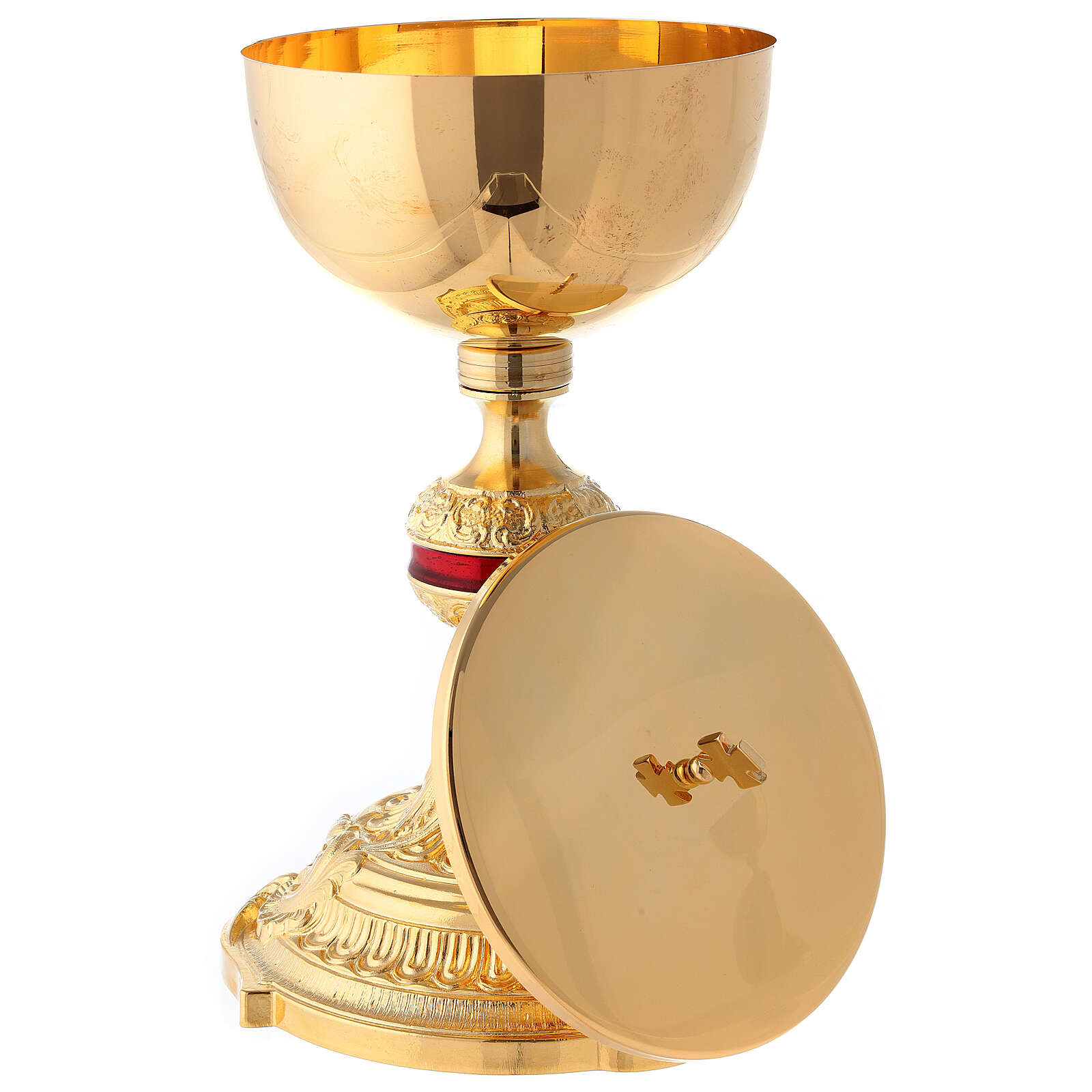 Brass chalice and ciborium with red ennameled node 4