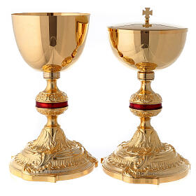 Brass chalice and ciborium with red ennameled node s1