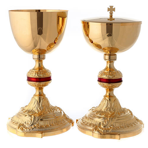 Brass chalice and ciborium with red ennameled node 1
