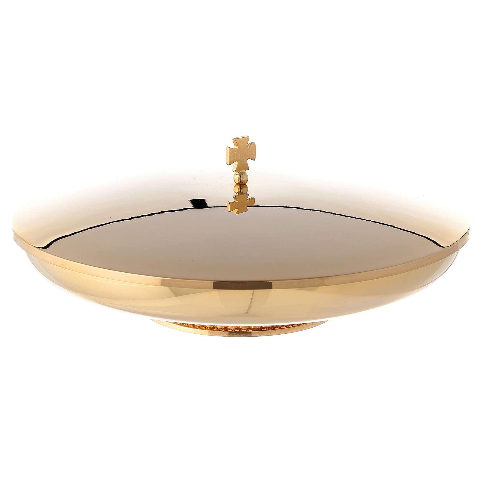 Copón dorado baja con tapa y base decorado diám. 23 cm 4
