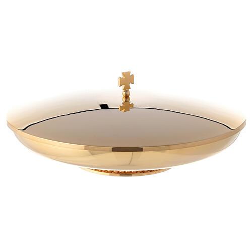 Copón dorado baja con tapa y base decorado diám. 23 cm 1
