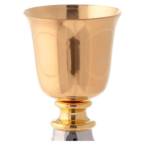 Calice ottone dorato da viaggio 10 cm base martellata tono argento 2