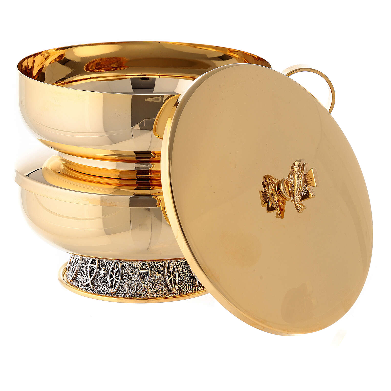 Stacking ciboria set in polished brass diameter 5 1/2 in 4
