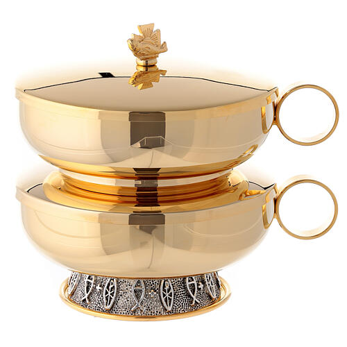Stacking ciboria set in polished brass diameter 5 1/2 in 1