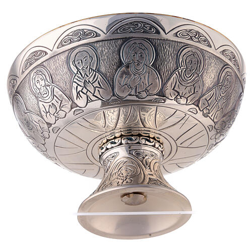 Last Supper and Evangelists Molina paten in silver plated brass 3