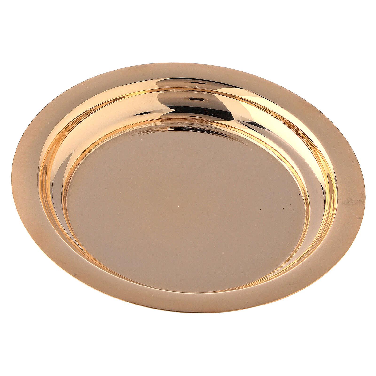 Cáliz y Patena latón dorado pámpanos vid 18 cm 4