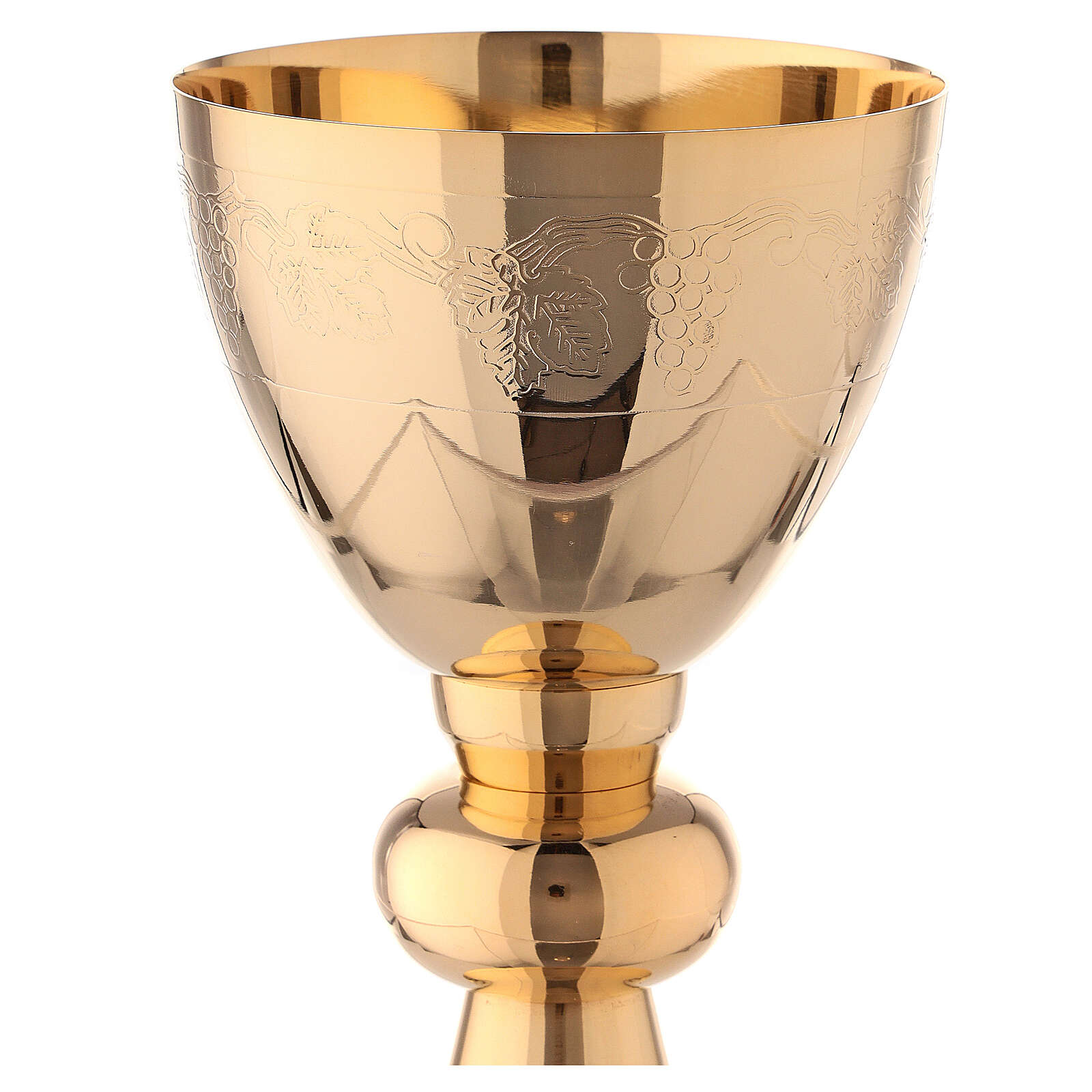Gold plated brass chalice and paten with grape branches decoration 7 in 4