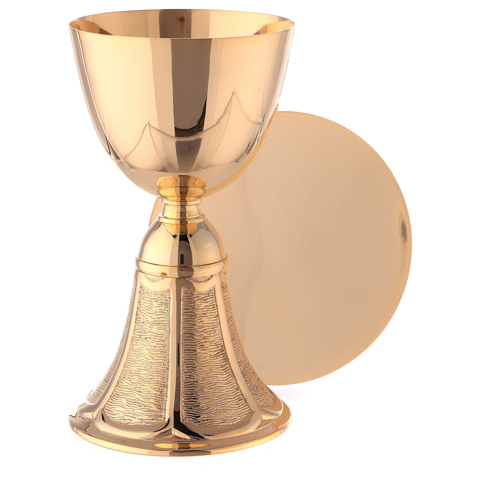 Gold plated brass Chalice and Paten with bell-shaped base 7 in 4