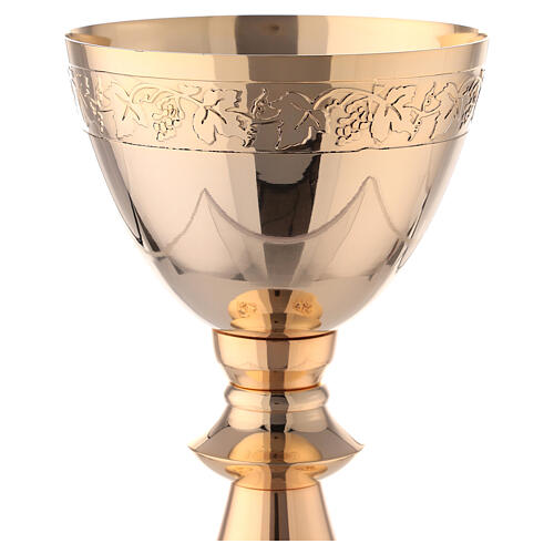 Gold plated brass Chalice and Paten with attached grape branches 8 in 2