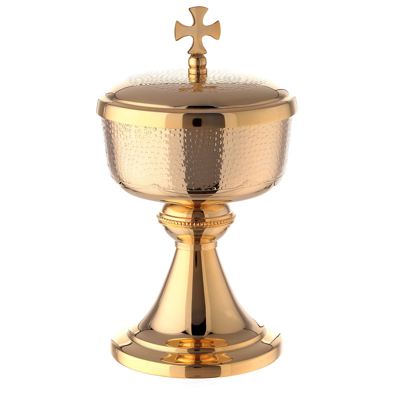 Gold plated brass ciborium with Maltese cross 9 in 4