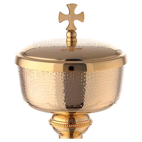Gold plated brass ciborium with Maltese cross 9 in 2