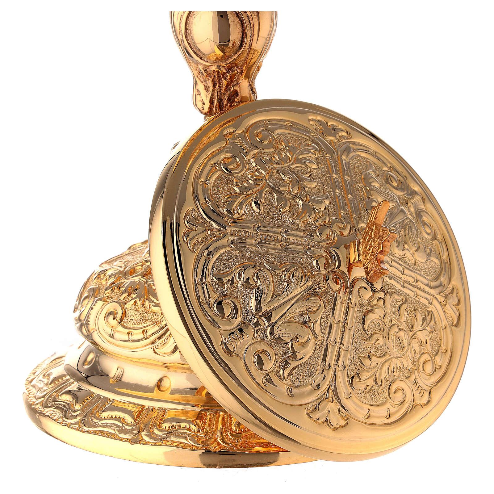 Baroque gold plated ciborium bread and fish handle 10 1/2 in 4