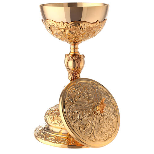 Baroque gold plated ciborium bread and fish handle 10 1/2 in 7