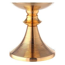 Pisside linee croce celtica ottone dorato 24 cm s3