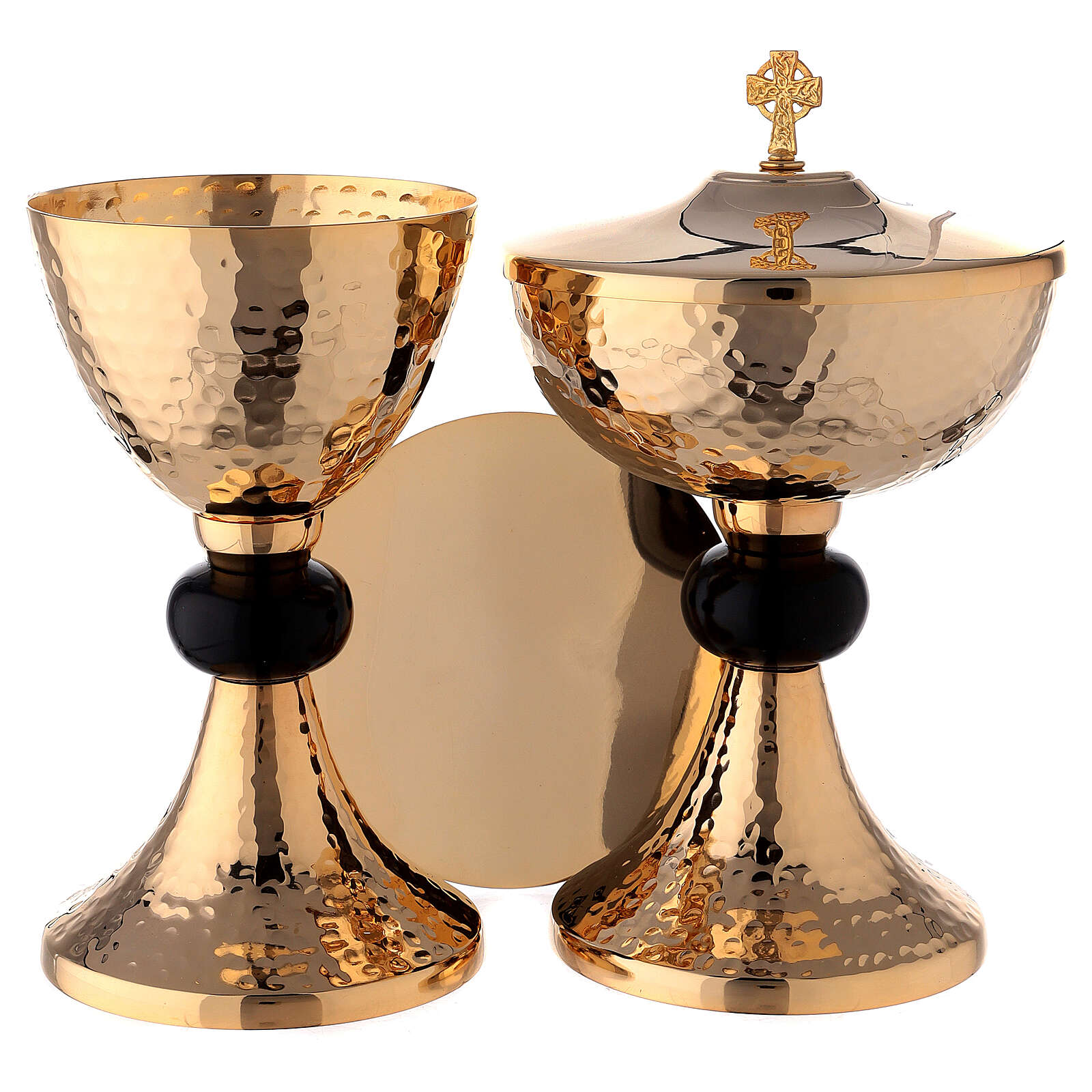 Hammered gold plated set of chalice ciborium and paten with black node 4
