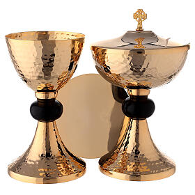Hammered gold plated set of chalice ciborium and paten with black node s1