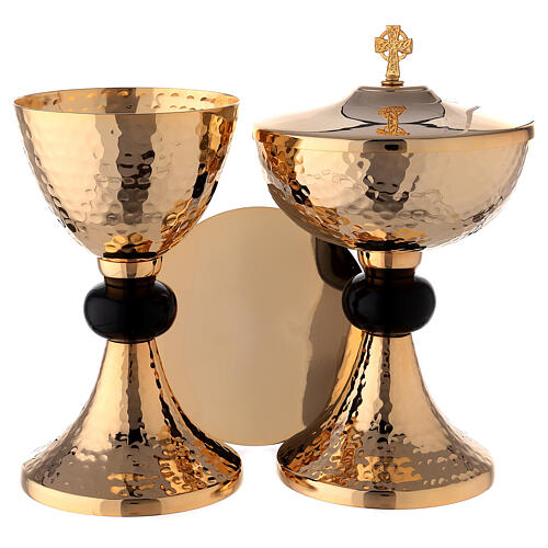 Hammered gold plated set of chalice ciborium and paten with black node 1