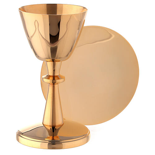 Small chalice with paten gold plated brass 5 in 1