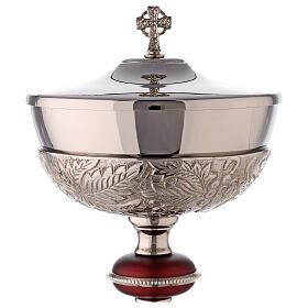 Nickel-plated brass ciborium with grapes and red node s2