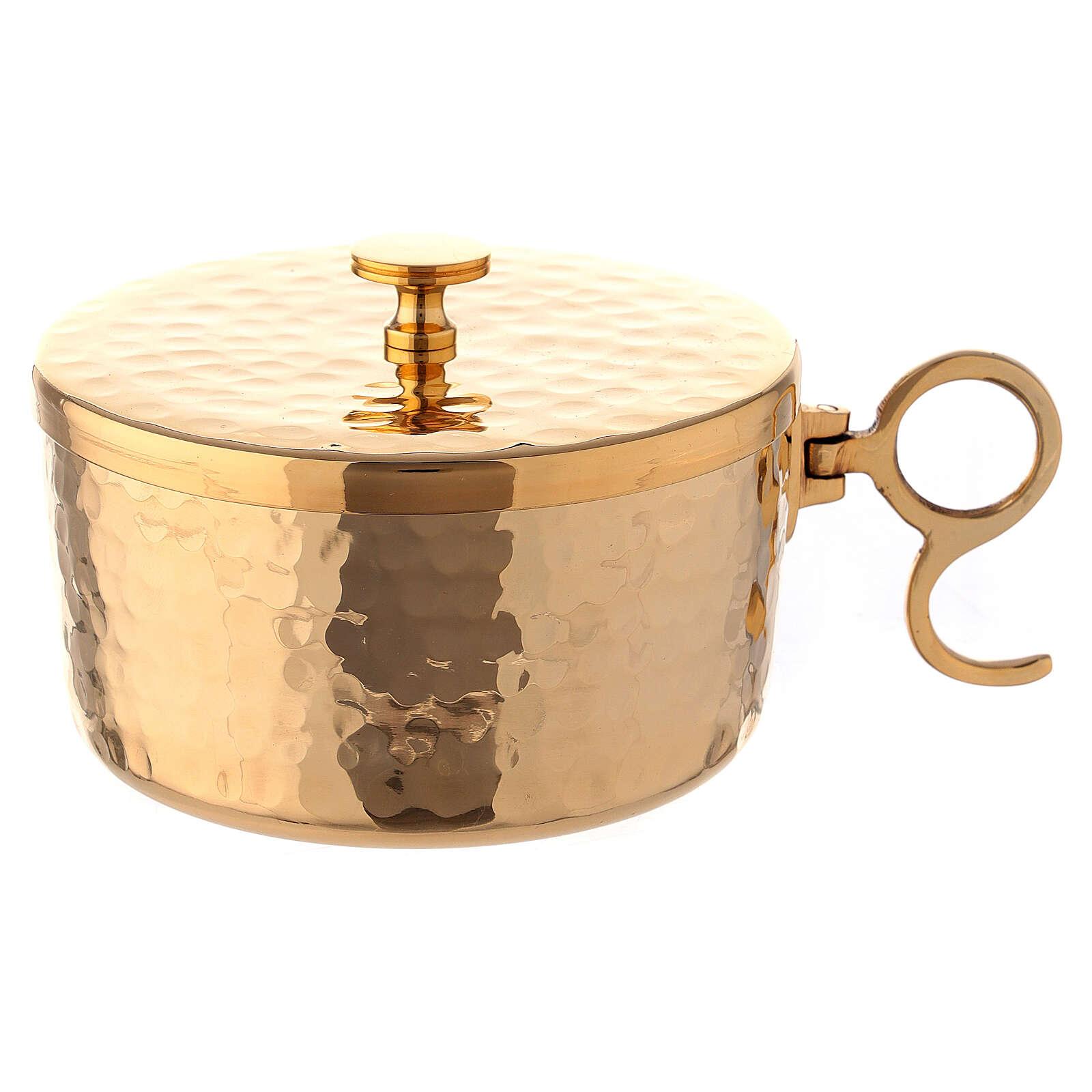 Pisside ottone dorato martellato impilabile d 10 cm 4
