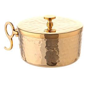 Pisside ottone dorato martellato impilabile d 10 cm s3