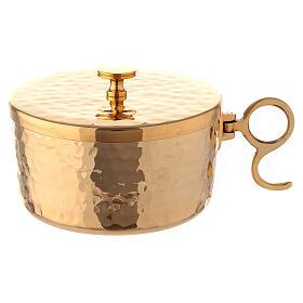 Hammered stackable ciborium in gold plated brass 4 in diameter s1