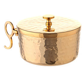 Hammered stackable ciborium in gold plated brass 4 in diameter s3