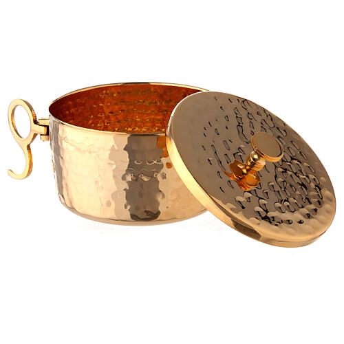 Hammered stackable ciborium in gold plated brass 4 in diameter 2