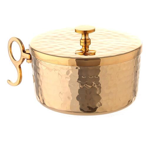 Hammered stackable ciborium in gold plated brass 4 in diameter 3