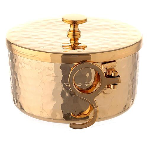 Hammered stackable ciborium in gold plated brass 4 in diameter 4