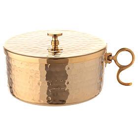 Pisside impilabile ottone dorato martellato 13 cm s1