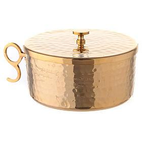 Pisside impilabile ottone dorato martellato 13 cm s2