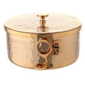 Pisside impilabile ottone dorato martellato 13 cm s4