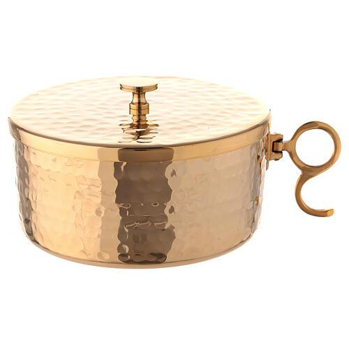 Pisside impilabile ottone dorato martellato 13 cm 1